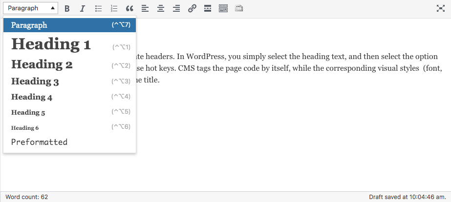 Styles of headings available in WordPress CMS