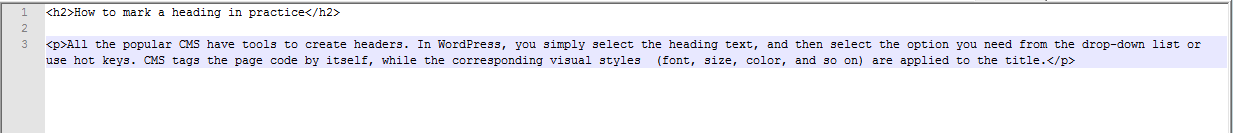 Heading labeled with tags in code
